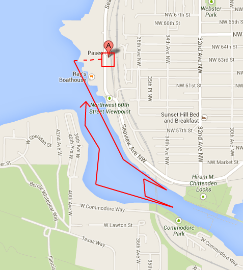 Paddle board route